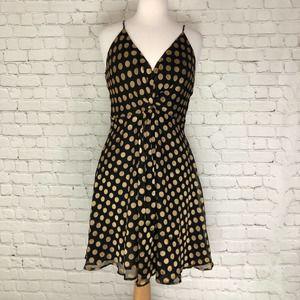 Astr Polka Dot Fit and Flare Twist Dress Large NWT